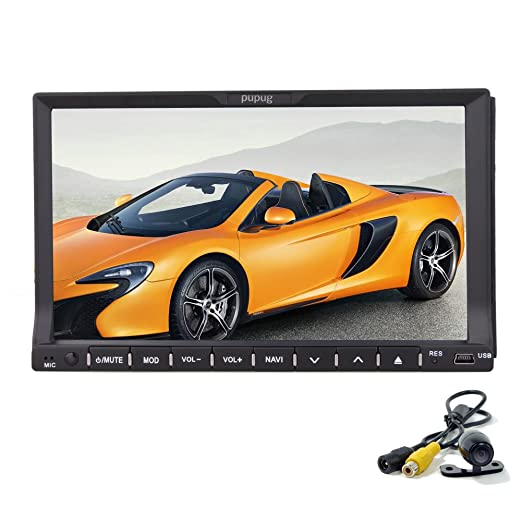 Pupug Audio 2 din Double-Din Headunit 7 pouces šŠcran tactile motorisšŠ de CD / DVD / USB / SD / MP4 / MP3 Player ršŠcepteur Bluetooth en streaming Bluetooth mains-libres avec Remote Camera +