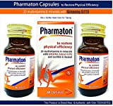Pharmaton 30 Capsules Bottle (Pack of 2) Stress Fatigue, Tiredness, Exhaustion with Ginseng G115 Optimal Physical and Mental Performance Ideal Size for Taking