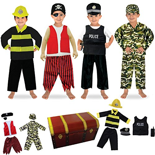 fedio-14PCS-Boys-Role-Play-Dress-up-Trunk-Costume-Set-for-Children-Pirate-Policeman-Fireman-Soldier