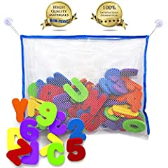ARE YOU TIRED OF A MESSY BATHROOM AND TOYS EVERYWHERE?   WISH FOR YOUR KIDS HAVING THE BEST LEARNING EXPERIENCE WITH FUN?   THE MOST COMPREHENSIVE SET Contains: 26 floating letters and 10 numbers. High quality large (14X18 inch) mesh organizer to sto...