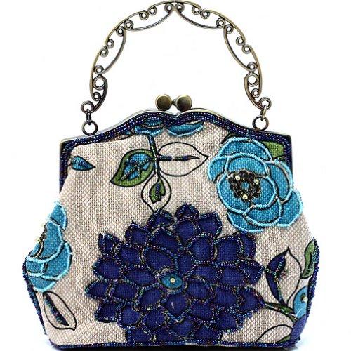 KAXIDY Borsa Pochette Della Borsa Sacchetto Donne Elegante Stile Pastorale (Blu)