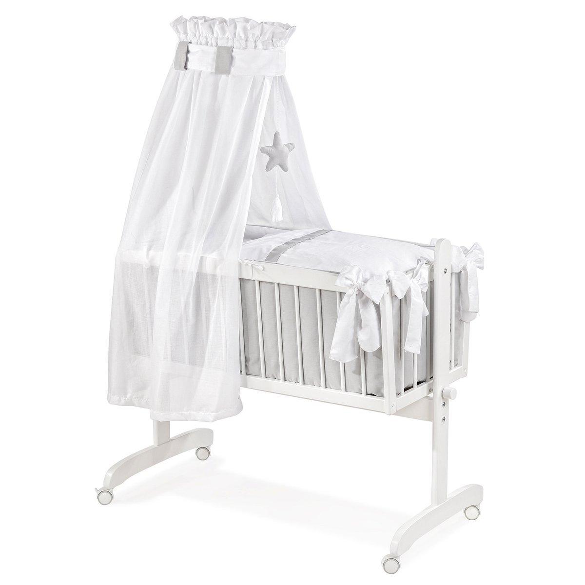 Christiane Wegner 2001 02429  Wiege weiß lackiert, Ausstattung weißanthrazit  BabyKritiken und weitere Infos