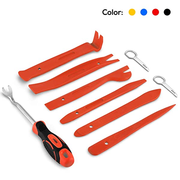 UTOOL Auto Trim Removal Tool 9 Pcs for Car Dash Audio Radio Door Panel Removal Tool with Ergonomic Design Nylon Fastener Remover (Color: red)