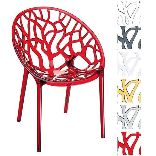 CLP Diseño de silla de jardín, silla de cocina, silla apilable Crystal-Apilable, protección UV, impermeable, color a elegir.
