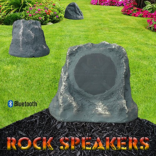 Bluetooth Outdoor Rock Speaker Grey Slate Stereo Pair