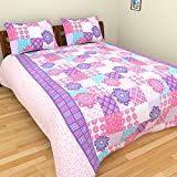 ITrend India 200 CT Polycotton Double Bedsheet With 2 Pillow Covers (Abstract, 225 Cm X 225 Cm X 1 Cm, Pink)