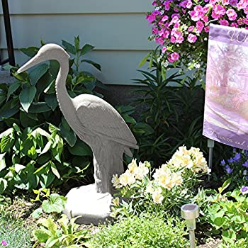 "EMSCO Group Great Heron Statue – Natural Granite Appearance – Made of Resin – Lightweight – 31"" Height"