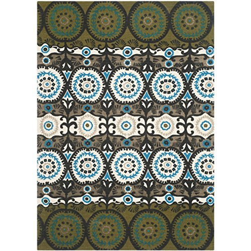 Safavieh Cedar Brook Collection CDR127B Handmade Green and Teal Cotton Area Rug, 4 feet by 6 feet (4' x 6')