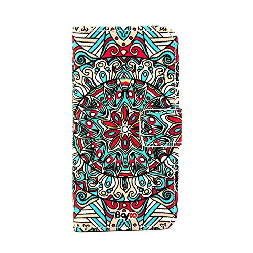 Bayke Brand / Iphone 6 Case Beautiful Pu Leather Wallet Type Flip Case Cover With Credit Card Holder Slots For Apple Iphone 6 Air (4.7-Inch) (Decorative Colorful Seamless Pattern In Mosaic Ethnic Style 02)