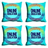 meSleep Blue Online Education Cushion Cover (16x16) - Set of 4
