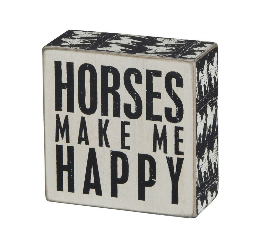 Primitives by Kathy Square Box Sign 4-Inch Horses