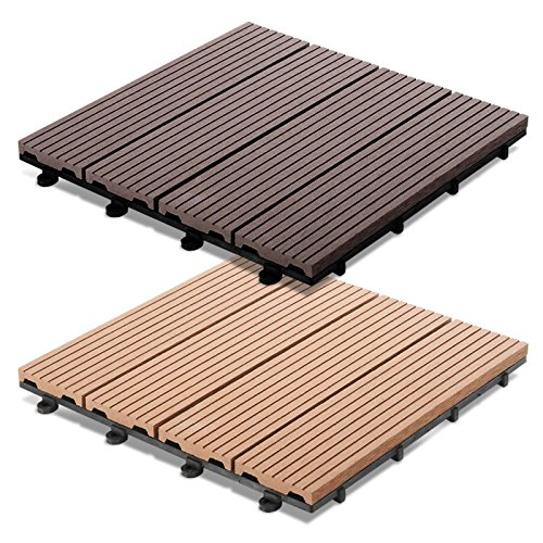 Dalles terrasse casa pura timber en 2 coloris set de 11 for Dalle bois terrasse 50x50