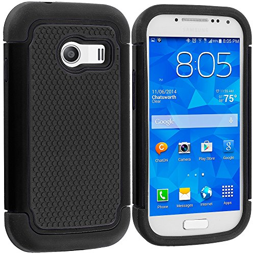 Samsung Galaxy Ace Style Case, TechSpec(TM) Black / Black Hybrid Rugged Grip Shockproof Case Cover for Samsung Galaxy Ace Style S765C (Galaxy Ace Style Silicone Case compare prices)