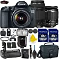 Canon EOS 70D 20.2 MP Digital SLR Camera with Dual Pixel CMOS 1080p + Canon EF-S 18-55mm IS STM + Canon 75-300mm III Lens + Battery Power Grip + Dedicated TTL Flash + 2pc High Speed 32GB Memory Cards
