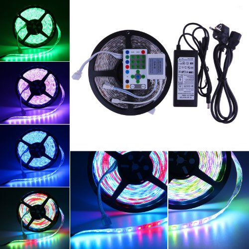 Lemonbest® 5M 16.4Ft 270Leds Smd 5050 Rgb Led Strip Lighting Waterproof Dream Color Changing Light Rope Rgb String Kit Horse Race Led Strip Light With Ir Remote Controller (5M Rgb Strip+25Key Remote +6A 12V Power Supply)