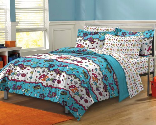 Cloud Nine Ultra Soft Microfiber Girls Peace Comforter Sheet Set, Blue Multi