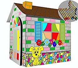 Littlefun Kids Foldable Premium Corrugated Cardboard Playhouse Kit Child Outdoor Indoor Diy Painting Imagination Toy Play House Markers Included(Cartoon Cottage)