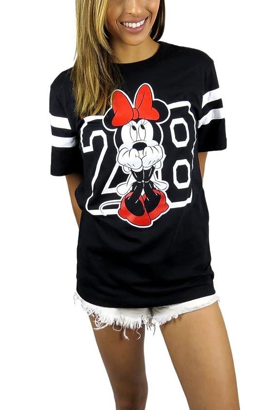 Disney Womens Minnie Mouse Varsity Football Tee Black