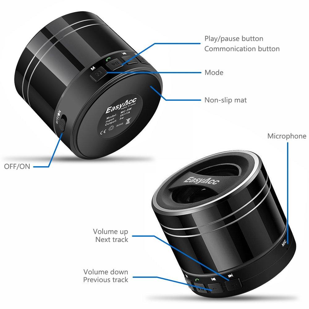 EasyAcc Mini Portable Bluetooth 4.0 Speaker with Mic, 3.5mm Aux, FM Function, Micro SD Card Support - Titanium Black