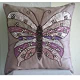 Butterfly Love - 12x12 inches Square Decorative Throw Pink Silk Pillow Covers Embellished with Beads & Sequins