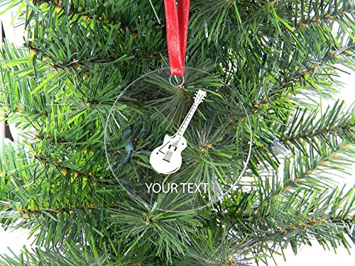 Personalized Custom Electric Guitar Clear Acrylic Christmas Tree Holiday Ornament Perfect Customizable Holiday Gift Or Birthday Present! Contact Seller For Text Personalization Or Leave A Gift Message At Checkout!