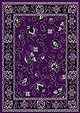 T1005 Purple Black White 7'10 x 10'2 Floral Oriental Area Rug Carpet