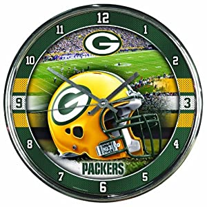 NFL Green Bay Packers Chrome Clock by WinCraft