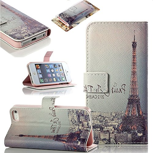 Mylife Baby Pink Night In Paris - Glamorous Design - Textured Koskin Faux Leather (Card And Id Holder + Magnetic Detachable Closing) Slim Wallet For Iphone 5/5S (5G) 5Th Generation Smartphone By Apple (External Rugged Synthetic Leather With Magnetic Clip