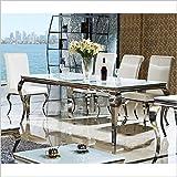 Etisch-140-160-180-o-200-x-90-x-76-cm-Lara-wei-Esszimmer-designer-luxus-Esstisch-Tisch-Bro-Edelstahl-Glas-Barock-Chrom-Milchglas-Schreibtisch-160-x-90-x-76-Wei