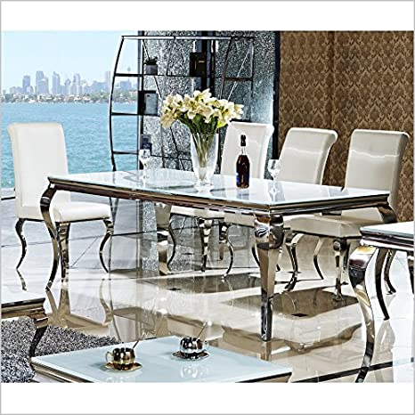 Wohnen-Luxus Lara Table de salle à manger en acier inoxydable et verre de style baroque Idéal aussi comme bureau Chromé/noir 140/160/180/200 x 90 x 76 cm, blanc, 220 x 100 x 76