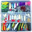 133pcs Artificial Fishing Lures Set, Mixed with Frog Lures, Soft Plastic Lures Spoon Lures Popper Crank VIB and More