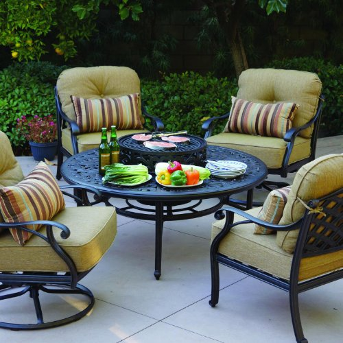 Darlee nassau 4 person cast aluminum patio conversation for Best deals on patio sets