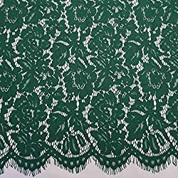 New 150cm*150cm Embroidery Eyelash Cotton Lace Fabric French Cord Lace Cloth Nigerian African Guipure Lace For Party Wedding Dress 21 dark green