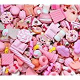 30 Pack Cute Candy Slime Beads Fruit Dessert Ice Cream Resin Charms Slices Flatback Buttons for Handcraft Accessories Scrapbooking Phone Case Decor (Baby Pink) (Color: Baby Pink, Tamaño: 10mm-25mm/0.39inch-1inch)
