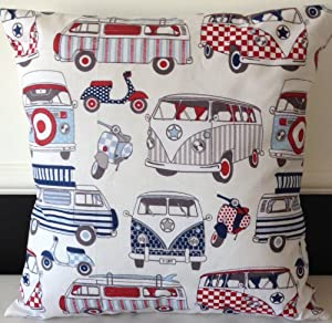 """2 x 16"""" CREAM BLUE RED CAMPER VAN & SCOOTER PRINT CUSHION COVERS"""