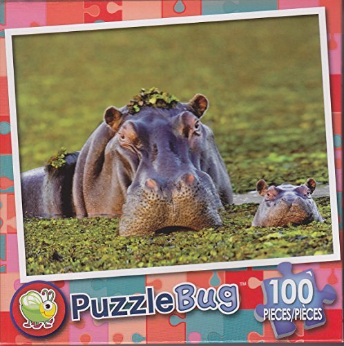 Puzzlebug 100 Piece Puzzle ~ Hippo Mother and Baby Calf - 1