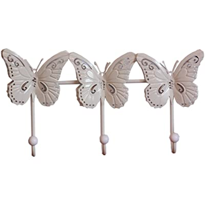 3 Dimensional Cream Butterfly Design Wall Hook - Strong Triple Hook