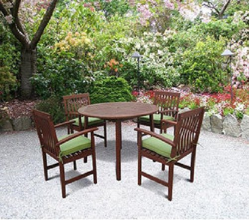 5 PC OUTDOOR PATIO DECK CHAIRS TABLE WOOD DINING CUSHIONS TEAK FINISH