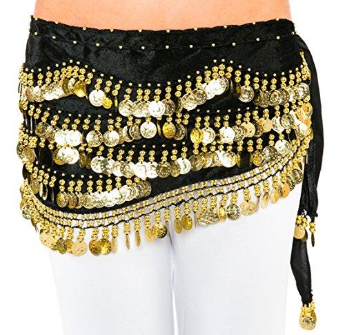 Turkish Emporium-Monete Per La Danza Del Ventre, In Velluto Decorato Con Perline-Sciarpa Da Fianchi
