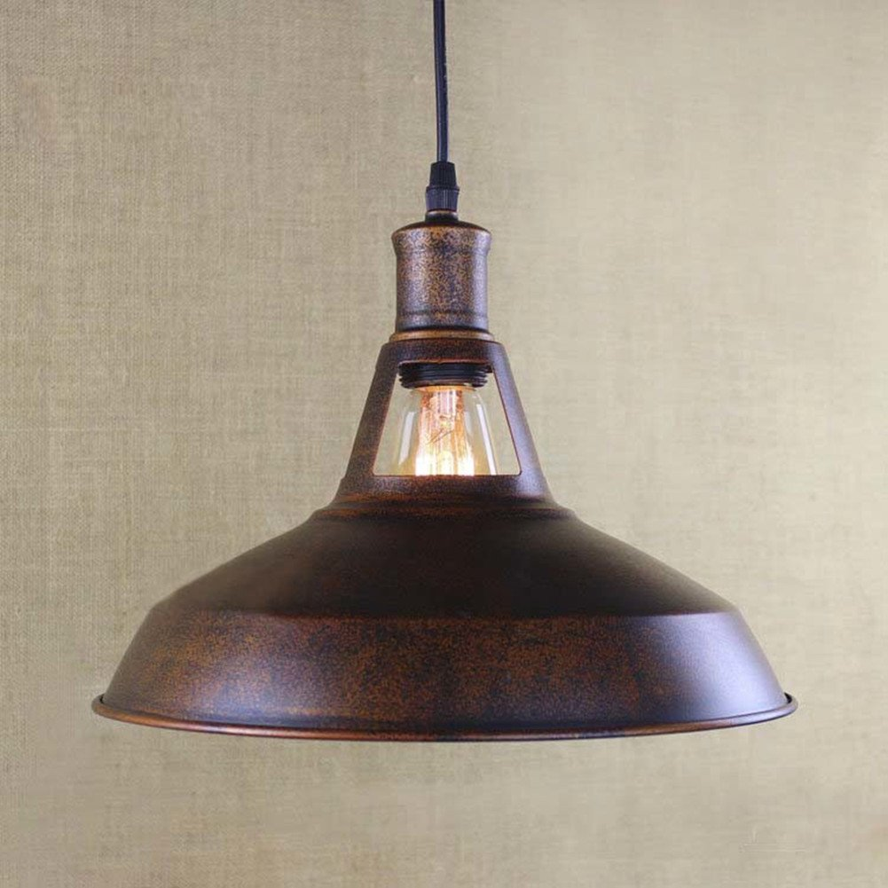 BAYCHEER HL421217 Industrial Retro Vintage style 12'' Wide Small Single Light Pendant Light Lampe Chandelier in Antique Copper use E26/27 Bulb 0