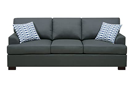 Slate Black Sofa with 2 Accent Pillows by Poundex