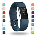 POY Replacement Bands Compatible for Fitbit Charge 2, Classic & Special Edition Sport Wristbands, Dark Blue Large, 1PC