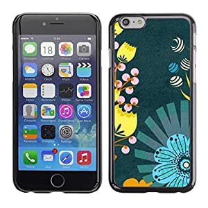 Omega Covers - Snap on Hard Back Case Cover Shell FOR Iphone 6/6S (4.7 INCH) - Teal Yellow Wallpaper Fabric
