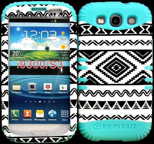 Hybrid Impact Rugged Cover Case Exclusive Black And White Tribal Aztec Pattern Hard Plastic Snap On Baby Teal Silicon Skin For Samsung Galaxy Slll S3 Fits Sprint L710, Verizon I535, At&T I747, T-Mobile T999, Us Cellular R530, Metro Pcs And All front-938549