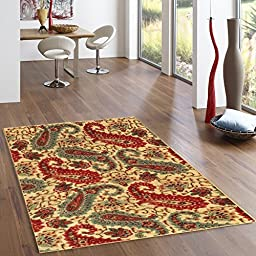 Rubber Backed 2-Piece Rug SET Paisley Floral Beige Area Non-Slip Rug - Rana Collection Kitchen Dining Living Hallway Bathroom Pet Entry Rugs RAN2012-2PC