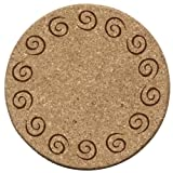 Cork Drink Coaster Set with Bamboo Holder - Set of 6