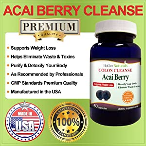 Acai Berry Colon Cleanse Premium Quality 60 Capsules Extra Strength Weight Loss Fat Burner Diet All Natural Better Naturals from Better Naturals