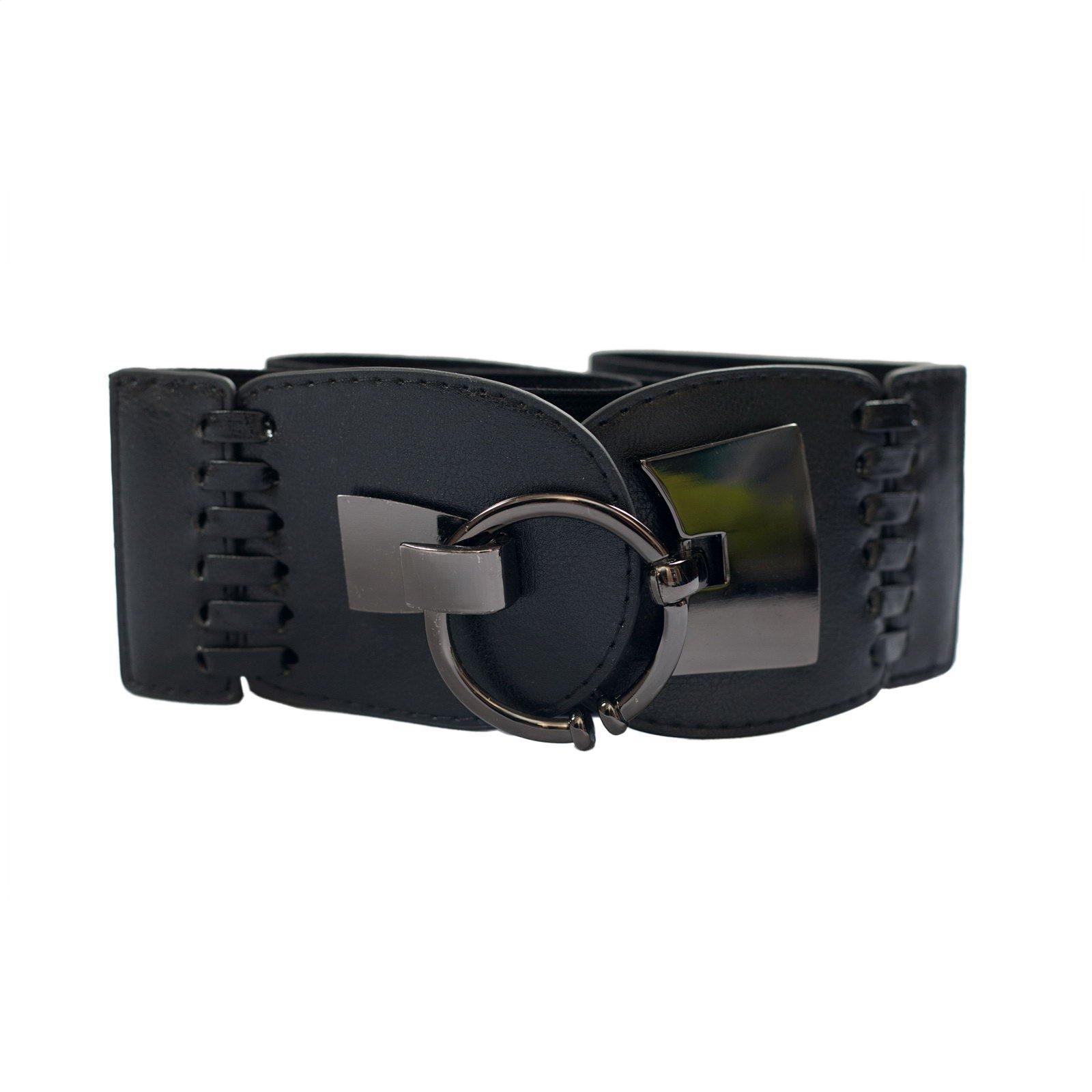 evogues plus size o ring closure wide elastic belt black