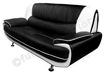 2 Seater Passero Black and White Faux Leather Sofa Suite Settee Couch