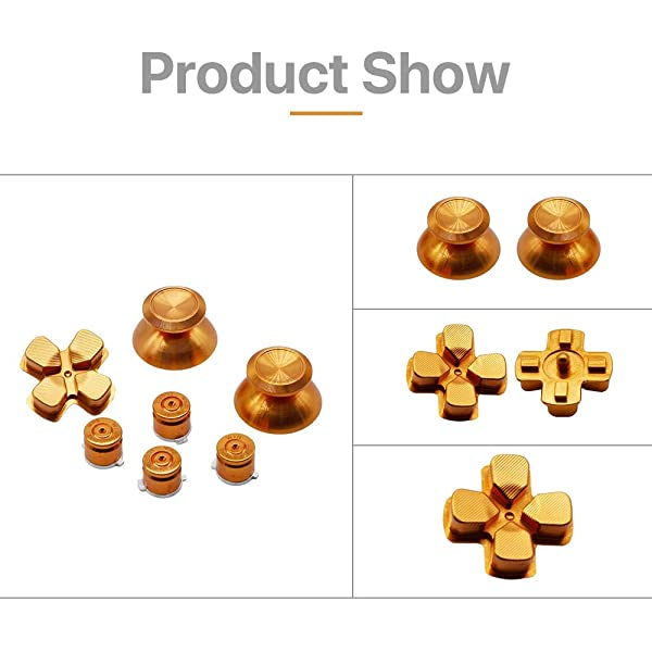 Ps4 Controller Buttons Replacement Joystick Thumbsticks Kit Metal Bullet with ABXY Bullet Buttons and D-pad for Playstation 4 PS4 Controller Gamepad (Color: Gold)